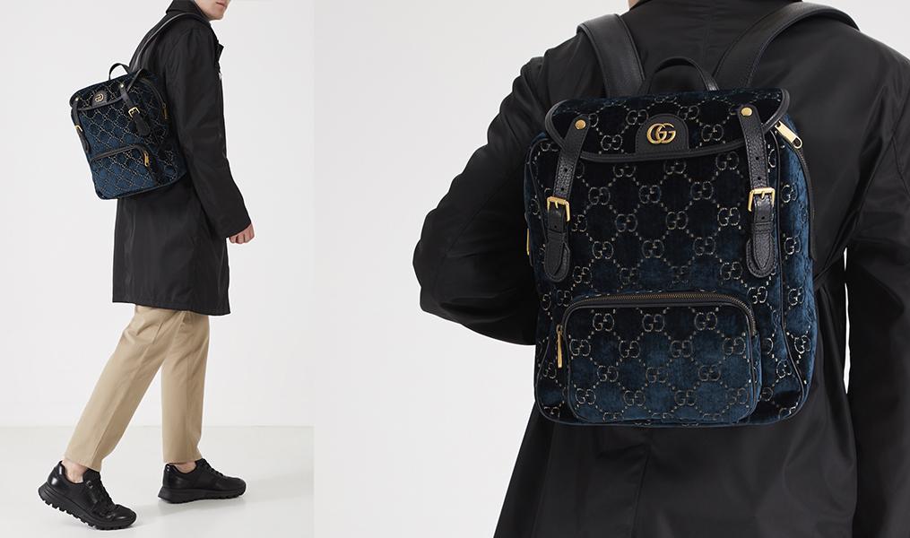 Бархатный рюкзак Gucci Man с черным пальто